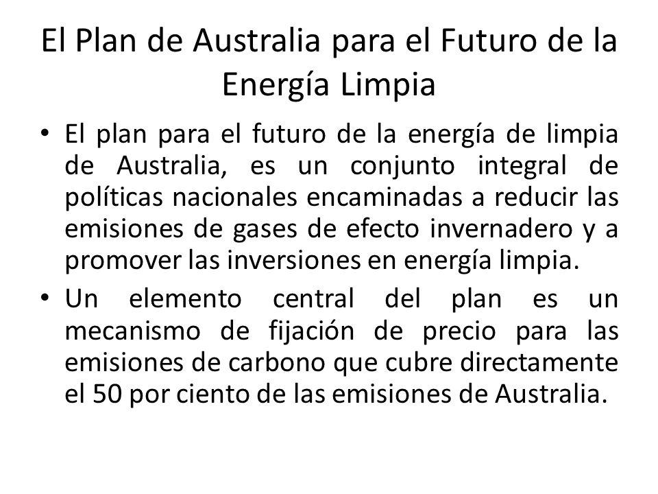 El Plan de Australia para el Futuro de la Energía Limpia El plan para el futuro de la energía de limpia de Australia, es un conjunto integral de políticas nacionales encaminadas a reducir las emisiones de gases de efecto invernadero y a promover las inversiones en energía limpia.