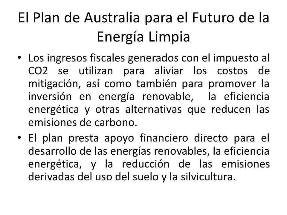 El Plan de Australia para el Futuro de la Energía Limpia Los ingresos fiscales generados con el impuesto al CO2 se utilizan para aliviar los costos de mitigación, así como también para promover la inversión en energía renovable, la eficiencia energética y otras alternativas que reducen las emisiones de carbono.