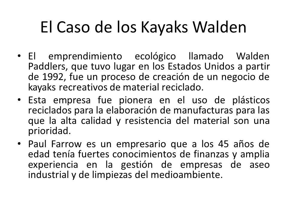 El Caso de los Kayaks Walden El emprendimiento ecológico llamado Walden Paddlers, que tuvo lugar en los Estados Unidos a partir de 1992, fue un proceso de creación de un negocio de kayaks recreativos de material reciclado.