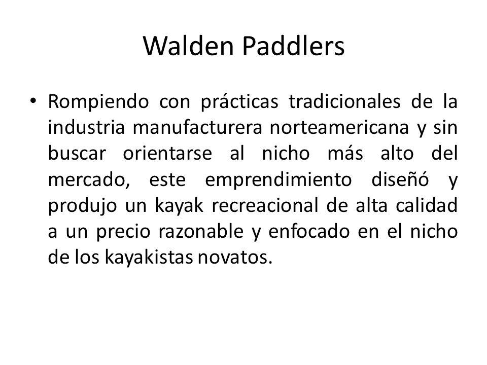 Walden Paddlers Rompiendo con prácticas tradicionales de la industria manufacturera norteamericana y sin buscar orientarse al nicho más alto del mercado, este emprendimiento diseñó y produjo un kayak recreacional de alta calidad a un precio razonable y enfocado en el nicho de los kayakistas novatos.