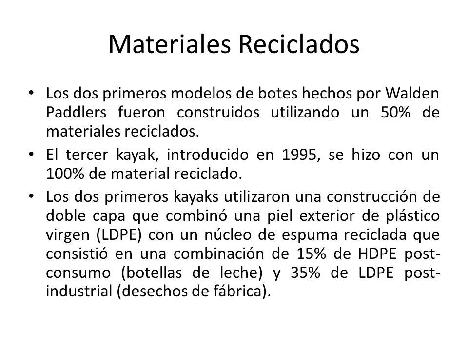 Materiales Reciclados Los dos primeros modelos de botes hechos por Walden Paddlers fueron construidos utilizando un 50% de materiales reciclados.