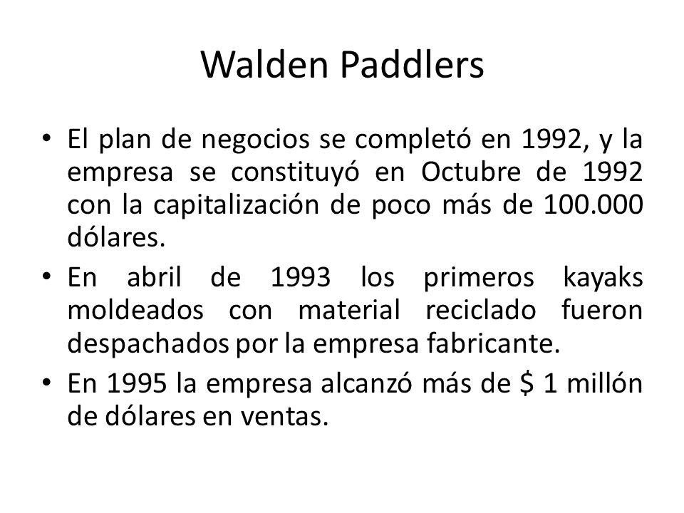 Walden Paddlers El plan de negocios se completó en 1992, y la empresa se constituyó en Octubre de 1992 con la capitalización de poco más de 100.000 dólares.