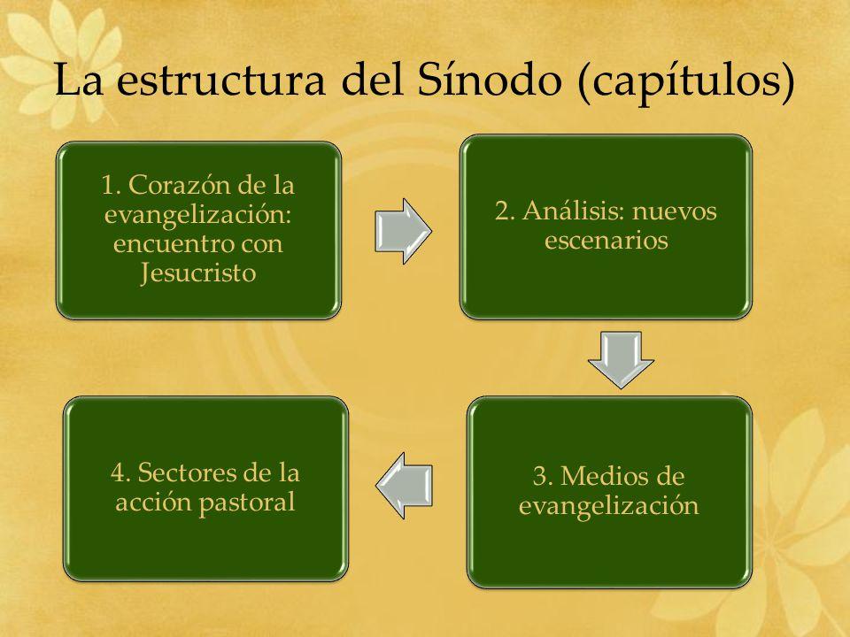La estructura del Sínodo (capítulos) 1.Corazón de la evangelización: encuentro con Jesucristo 2.