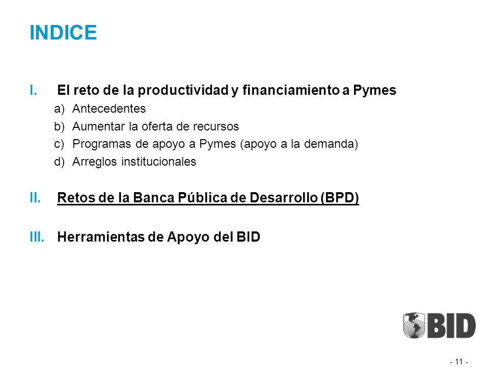 INDICE I.El reto de la productividad y financiamiento a Pymes a)Antecedentes b)Aumentar la oferta de recursos c)Programas de apoyo a Pymes (apoyo a la demanda) d)Arreglos institucionales II.Retos de la Banca Pública de Desarrollo (BPD) III.Herramientas de Apoyo del BID - 11 -