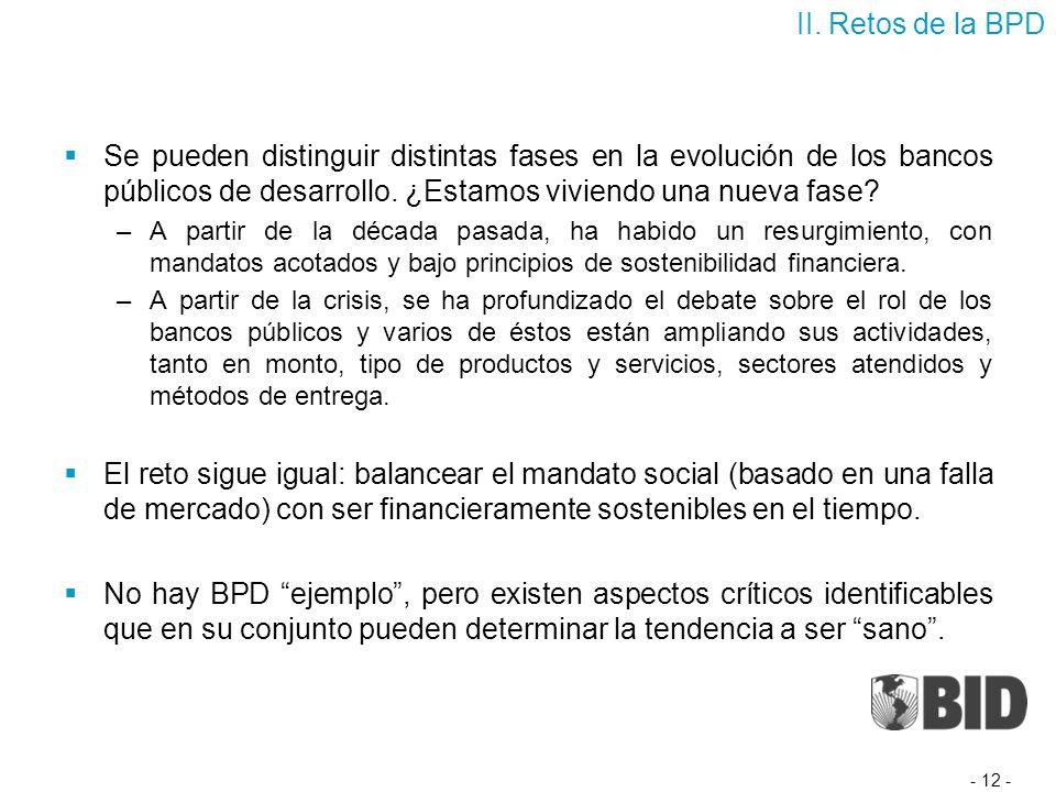 Se pueden distinguir distintas fases en la evolución de los bancos públicos de desarrollo.