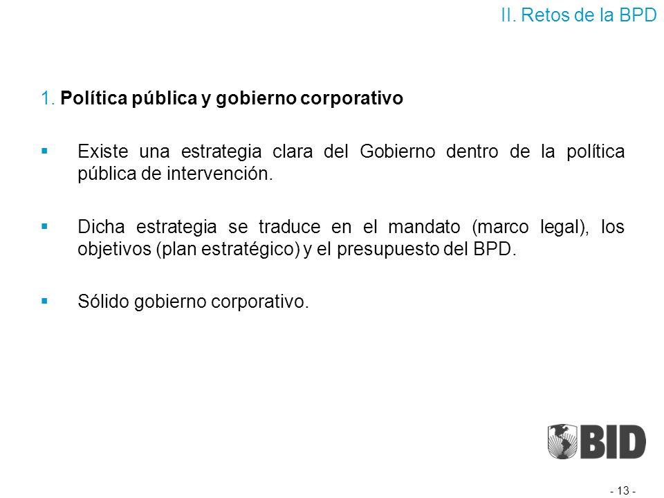 1. Política pública y gobierno corporativo Existe una estrategia clara del Gobierno dentro de la política pública de intervención. Dicha estrategia se