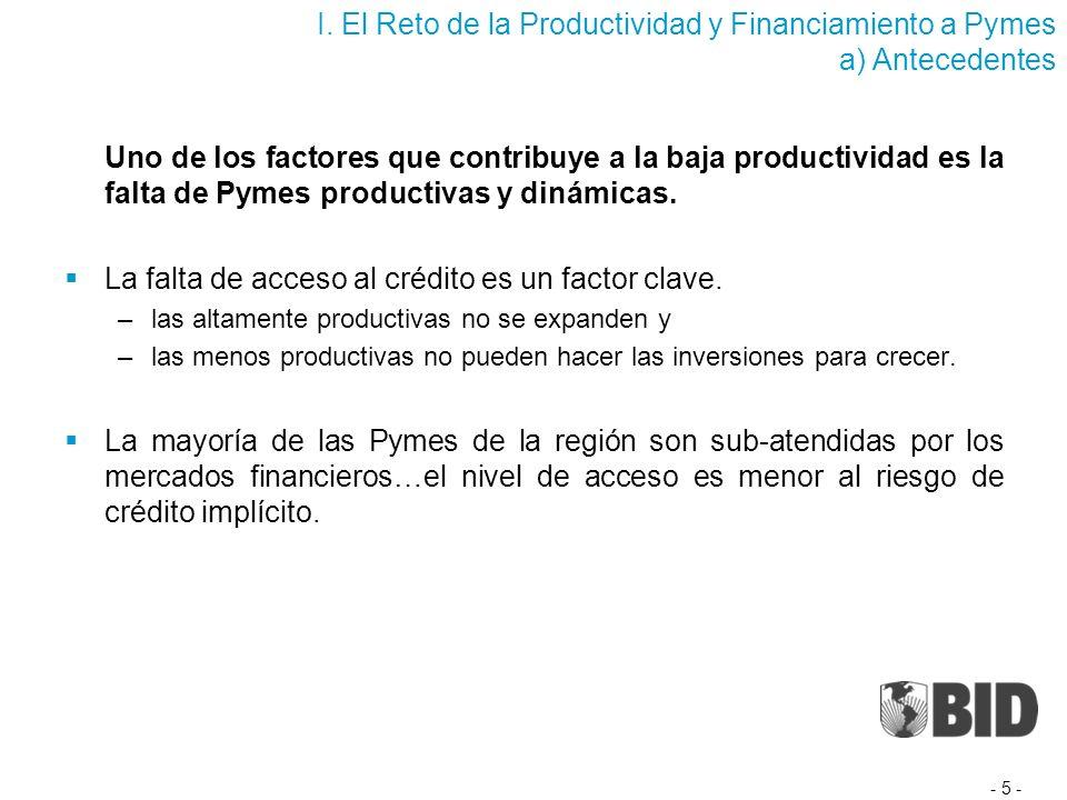 Uno de los factores que contribuye a la baja productividad es la falta de Pymes productivas y dinámicas.