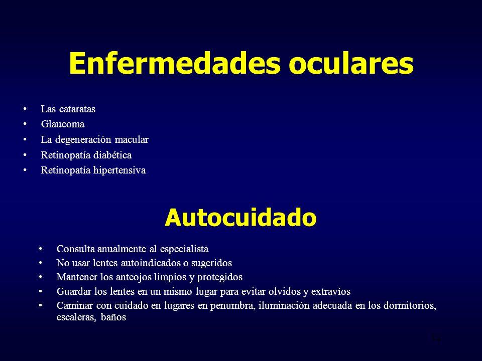 Enfermedades oculares Las cataratas Glaucoma La degeneración macular Retinopatía diabética Retinopatía hipertensiva Autocuidado Consulta anualmente al