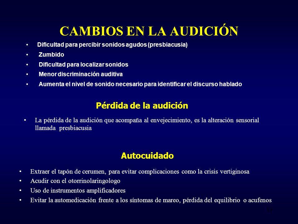 CAMBIOS EN LA AUDICIÓN Dificultad para percibir sonidos agudos (presbiacusia) Zumbido Dificultad para localizar sonidos Menor discriminación auditiva