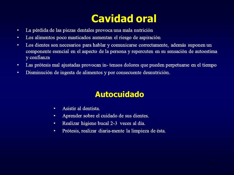 Cavidad oral La pérdida de las piezas dentales provoca una mala nutrición Los alimentos poco masticados aumentan el riesgo de aspiración Los dientes s