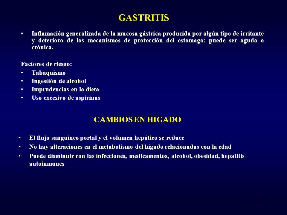 GASTRITIS Inflamación generalizada de la mucosa gástrica producida por algún tipo de irritante y deterioro de los mecanismos de protección del estomago; puede ser aguda o crónica.