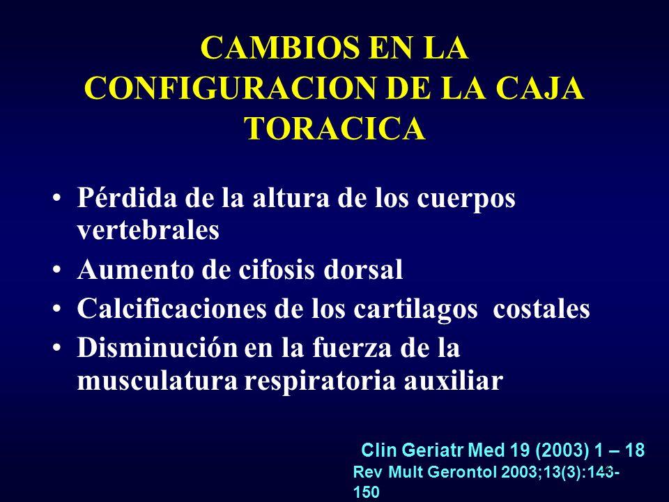 CAMBIOS EN LA CONFIGURACION DE LA CAJA TORACICA Pérdida de la altura de los cuerpos vertebrales Aumento de cifosis dorsal Calcificaciones de los cartilagos costales Disminución en la fuerza de la musculatura respiratoria auxiliar Rev Mult Gerontol 2003;13(3):143- 150 Clin Geriatr Med 19 (2003) 1 – 18 26