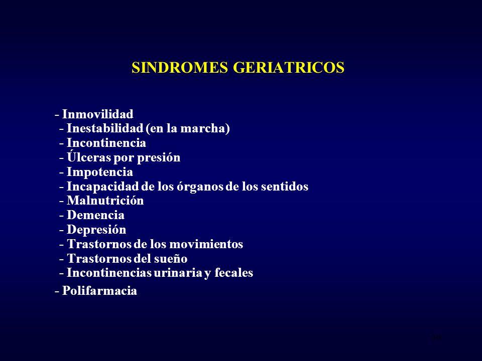 SINDROMES GERIATRICOS - Inmovilidad - Inestabilidad (en la marcha) - Incontinencia - Úlceras por presión - Impotencia - Incapacidad de los órganos de los sentidos - Malnutrición - Demencia - Depresión - Trastornos de los movimientos - Trastornos del sueño - Incontinencias urinaria y fecales - Polifarmacia 30