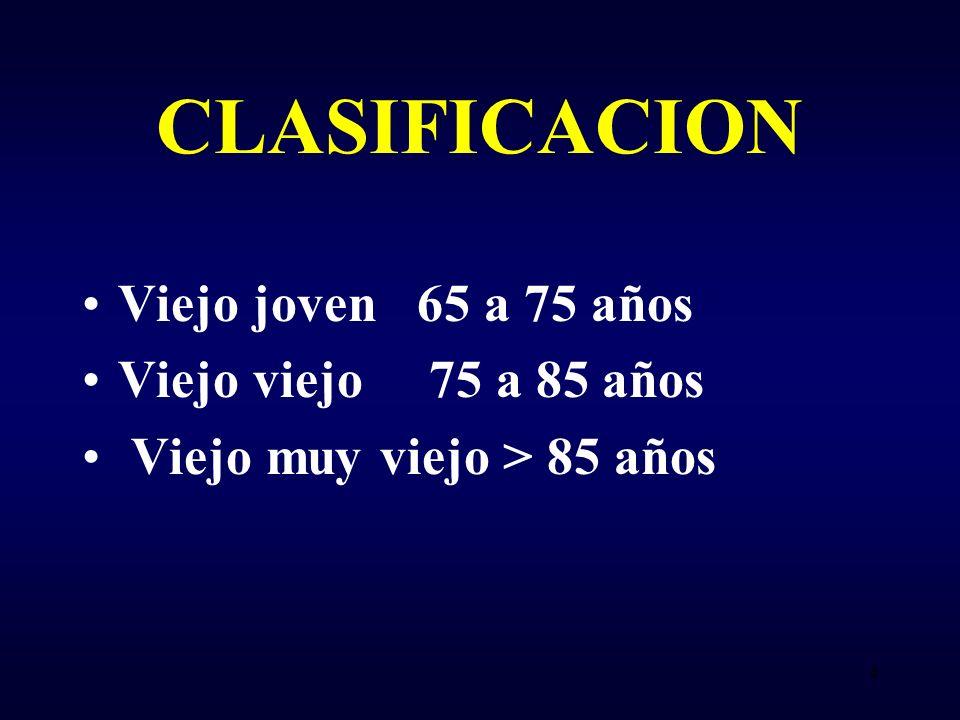CLASIFICACION Viejo joven 65 a 75 años Viejo viejo 75 a 85 años Viejo muy viejo > 85 años 4