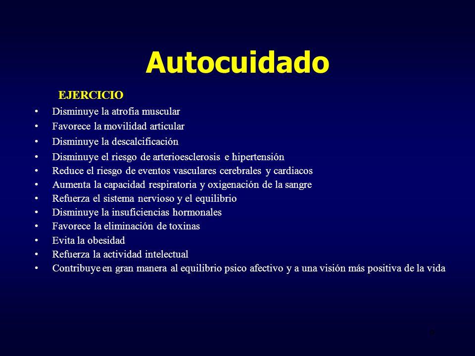 Autocuidado EJERCICIO Disminuye la atrofia muscular Favorece la movilidad articular Disminuye la descalcificación Disminuye el riesgo de arterioescler