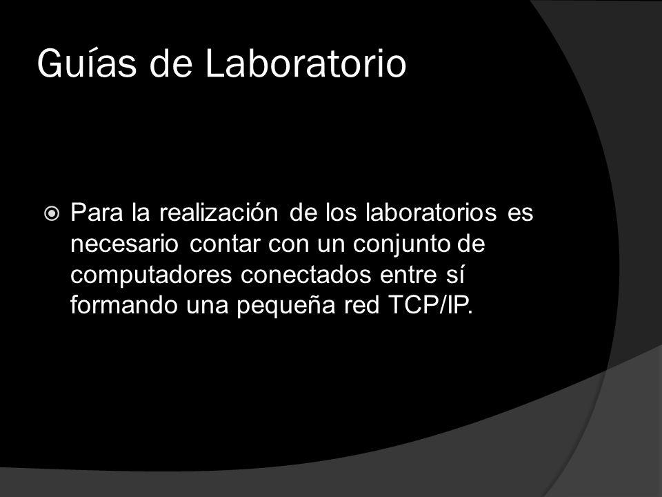 Guías de Laboratorio Para la realización de los laboratorios es necesario contar con un conjunto de computadores conectados entre sí formando una pequ