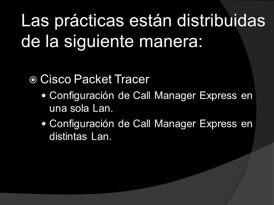 Cisco Packet Tracer Configuración de Call Manager Express en una sola Lan. Configuración de Call Manager Express en distintas Lan. Las prácticas están