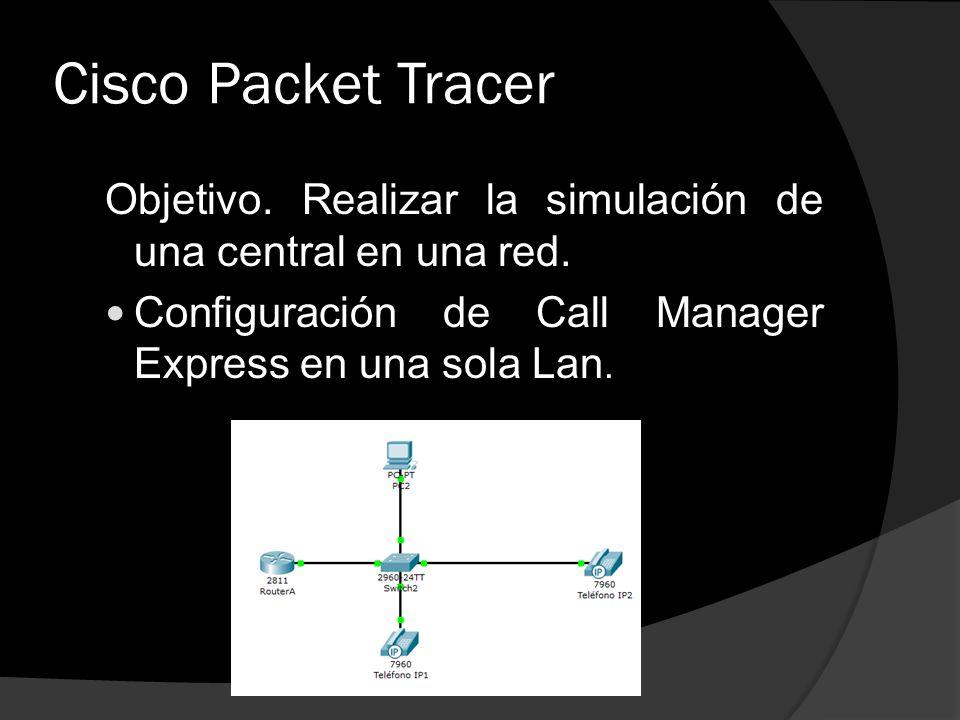 Cisco Packet Tracer Objetivo. Realizar la simulación de una central en una red. Configuración de Call Manager Express en una sola Lan.