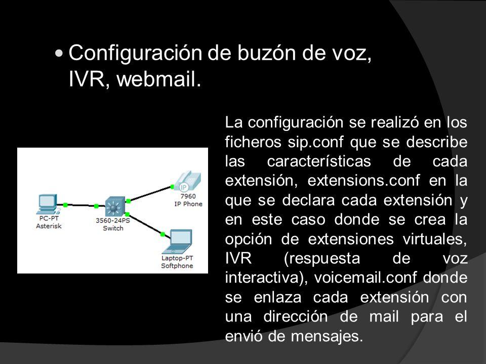 Configuración de buzón de voz, IVR, webmail. La configuración se realizó en los ficheros sip.conf que se describe las características de cada extensió
