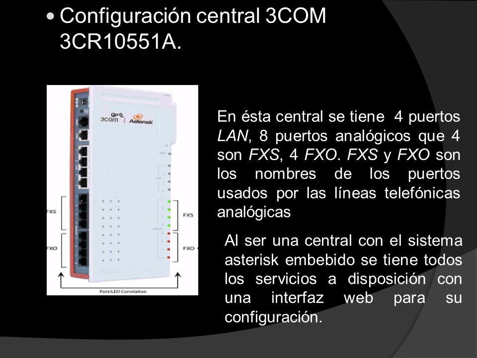 Configuración central 3COM 3CR10551A. En ésta central se tiene 4 puertos LAN, 8 puertos analógicos que 4 son FXS, 4 FXO. FXS y FXO son los nombres de