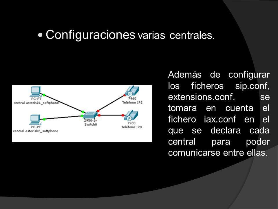 Configuraciones varias centrales. Además de configurar los ficheros sip.conf, extensions.conf, se tomara en cuenta el fichero iax.conf en el que se de