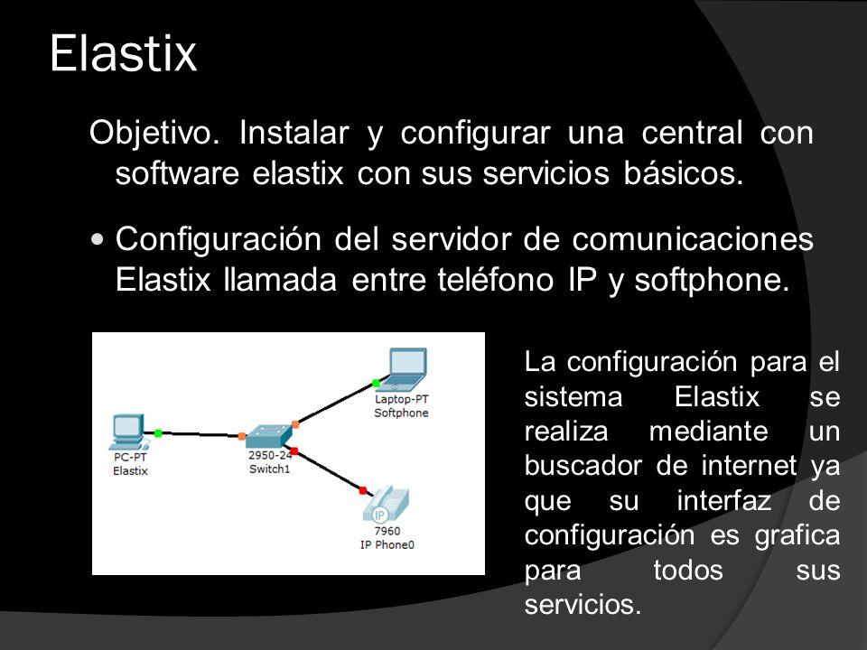 Elastix Objetivo. Instalar y configurar una central con software elastix con sus servicios básicos. Configuración del servidor de comunicaciones Elast