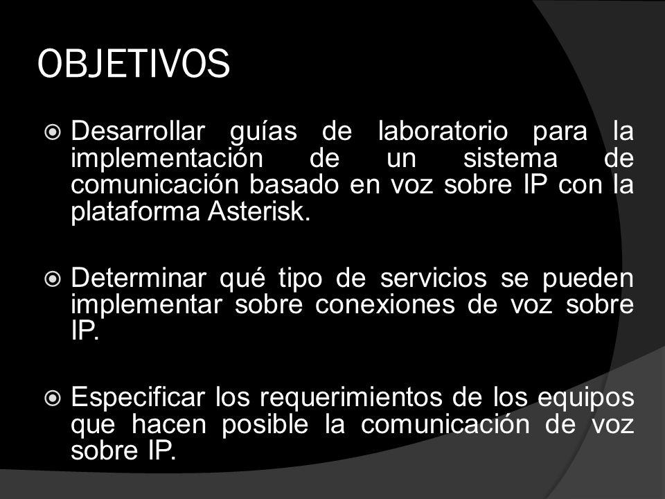 OBJETIVOS Desarrollar guías de laboratorio para la implementación de un sistema de comunicación basado en voz sobre IP con la plataforma Asterisk. Det