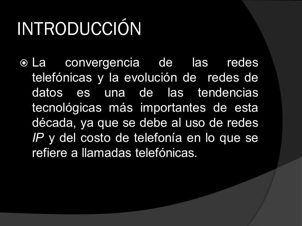 INTRODUCCIÓN La convergencia de las redes telefónicas y la evolución de redes de datos es una de las tendencias tecnológicas más importantes de esta d