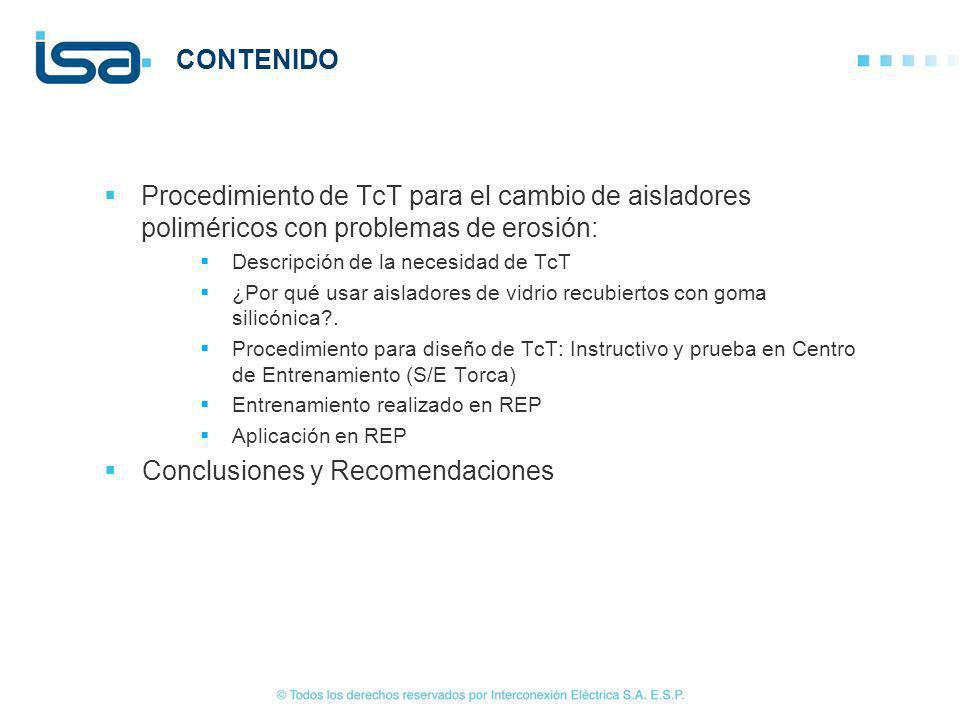 2/22 Procedimiento de TcT para el cambio de aisladores poliméricos con problemas de erosión: Descripción de la necesidad de TcT ¿Por qué usar aislador