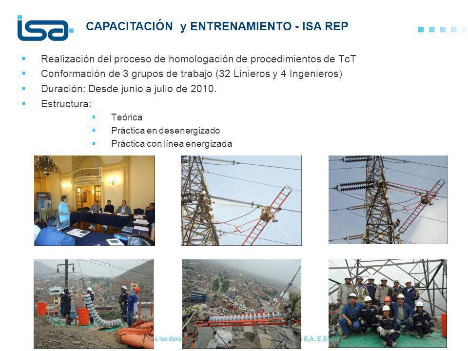 Realización del proceso de homologación de procedimientos de TcT Conformación de 3 grupos de trabajo (32 Linieros y 4 Ingenieros) Duración: Desde juni