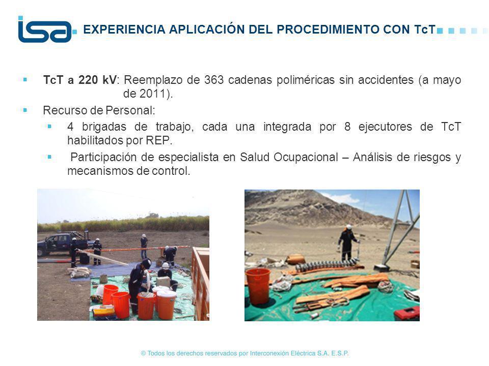 TcT a 220 kV: Reemplazo de 363 cadenas poliméricas sin accidentes (a mayo de 2011). Recurso de Personal: 4 brigadas de trabajo, cada una integrada por