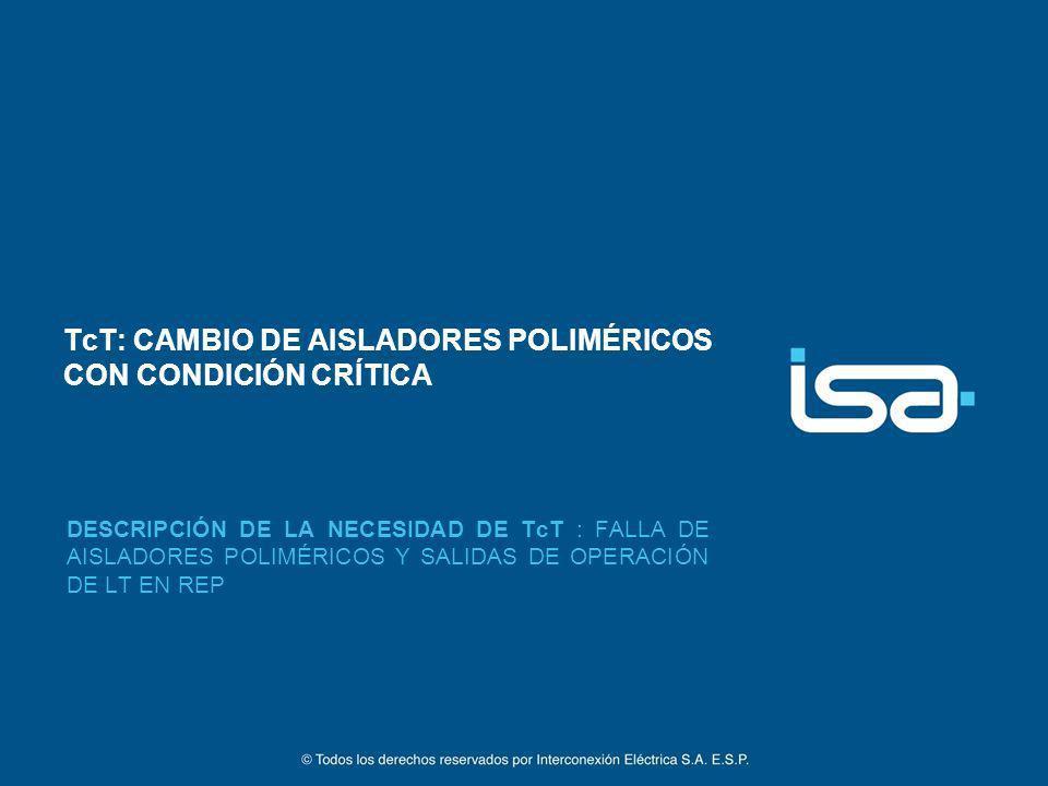 TcT: CAMBIO DE AISLADORES POLIMÉRICOS CON CONDICIÓN CRÍTICA DESCRIPCIÓN DE LA NECESIDAD DE TcT : FALLA DE AISLADORES POLIMÉRICOS Y SALIDAS DE OPERACIÓ