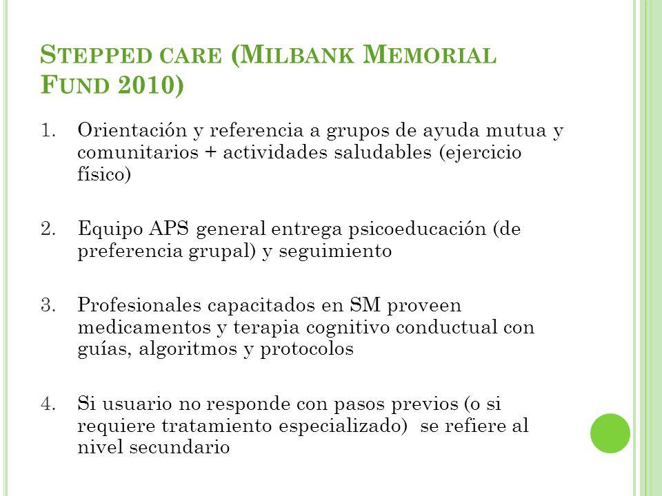 S TEPPED CARE (M ILBANK M EMORIAL F UND 2010) 1.Orientación y referencia a grupos de ayuda mutua y comunitarios + actividades saludables (ejercicio fí