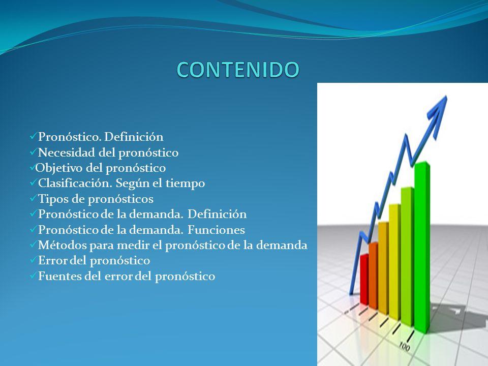 Pronóstico. Definición Necesidad del pronóstico Objetivo del pronóstico Clasificación. Según el tiempo Tipos de pronósticos Pronóstico de la demanda.