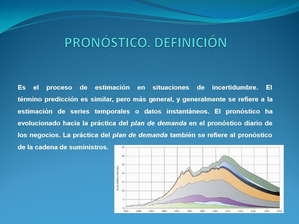 Es el proceso de estimación en situaciones de incertidumbre. El término predicción es similar, pero más general, y generalmente se refiere a la estima