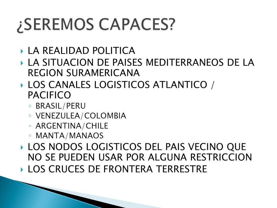 LA REALIDAD POLITICA LA SITUACION DE PAISES MEDITERRANEOS DE LA REGION SURAMERICANA LOS CANALES LOGISTICOS ATLANTICO / PACIFICO BRASIL/PERU VENEZULEA/COLOMBIA ARGENTINA/CHILE MANTA/MANAOS LOS NODOS LOGISTICOS DEL PAIS VECINO QUE NO SE PUEDEN USAR POR ALGUNA RESTRICCION LOS CRUCES DE FRONTERA TERRESTRE