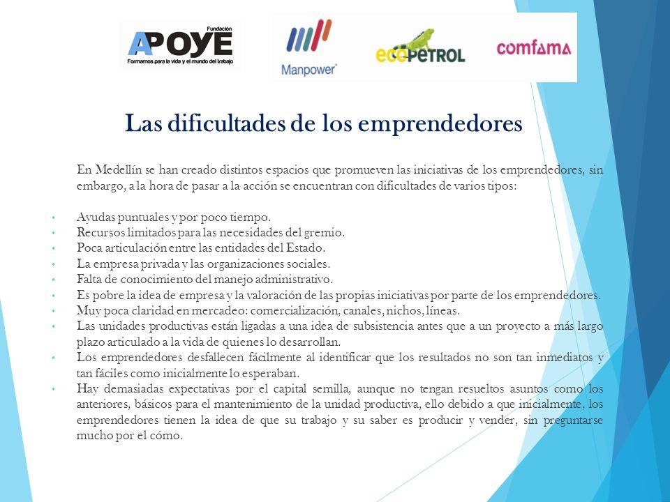 Las dificultades de los emprendedores En Medellín se han creado distintos espacios que promueven las iniciativas de los emprendedores, sin embargo, a la hora de pasar a la acción se encuentran con dificultades de varios tipos: Ayudas puntuales y por poco tiempo.