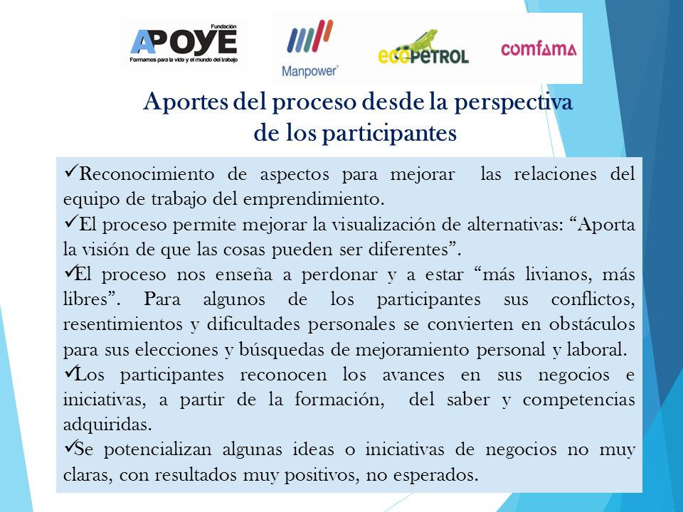 Aportes del proceso desde la perspectiva de los participantes Reconocimiento de aspectos para mejorar las relaciones del equipo de trabajo del emprendimiento.