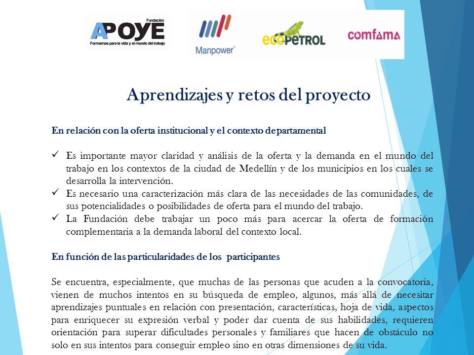 En relación con la oferta institucional y el contexto departamental Es importante mayor claridad y análisis de la oferta y la demanda en el mundo del trabajo en los contextos de la ciudad de Medellín y de los municipios en los cuales se desarrolla la intervención.