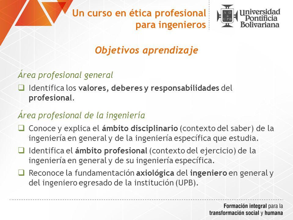 Objetivos aprendizaje Área de responsabilidad disciplinaria y social del ingeniero Evalúa la responsabilidad disciplinaria de un ingeniero (legislación y código de ética).
