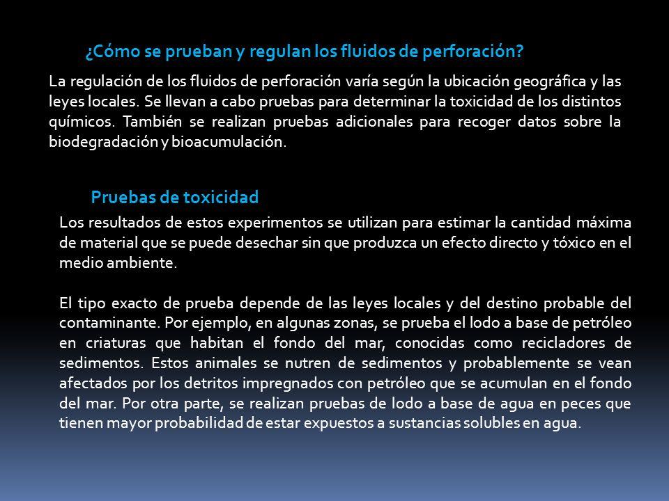 ¿Cómo se prueban y regulan los fluidos de perforación? La regulación de los fluidos de perforación varía según la ubicación geográfica y las leyes loc