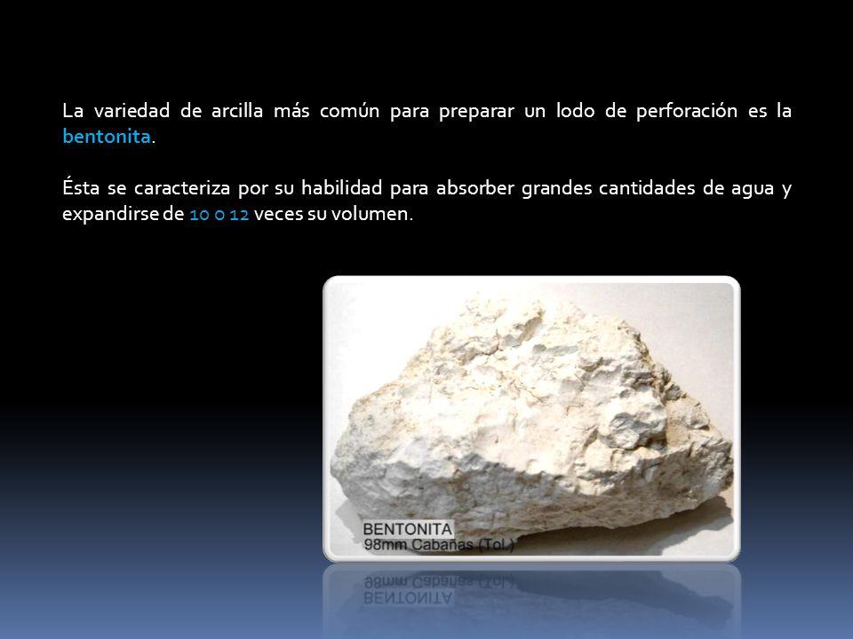 La variedad de arcilla más común para preparar un lodo de perforación es la bentonita. Ésta se caracteriza por su habilidad para absorber grandes cant