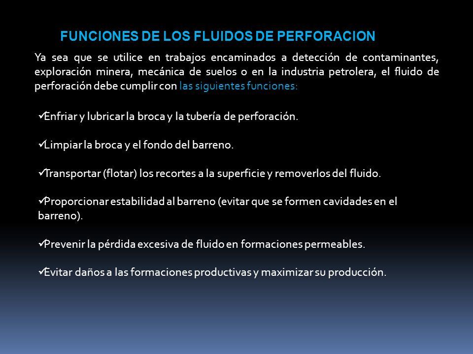 FUNCIONES DE LOS FLUIDOS DE PERFORACION Ya sea que se utilice en trabajos encaminados a detección de contaminantes, exploración minera, mecánica de su