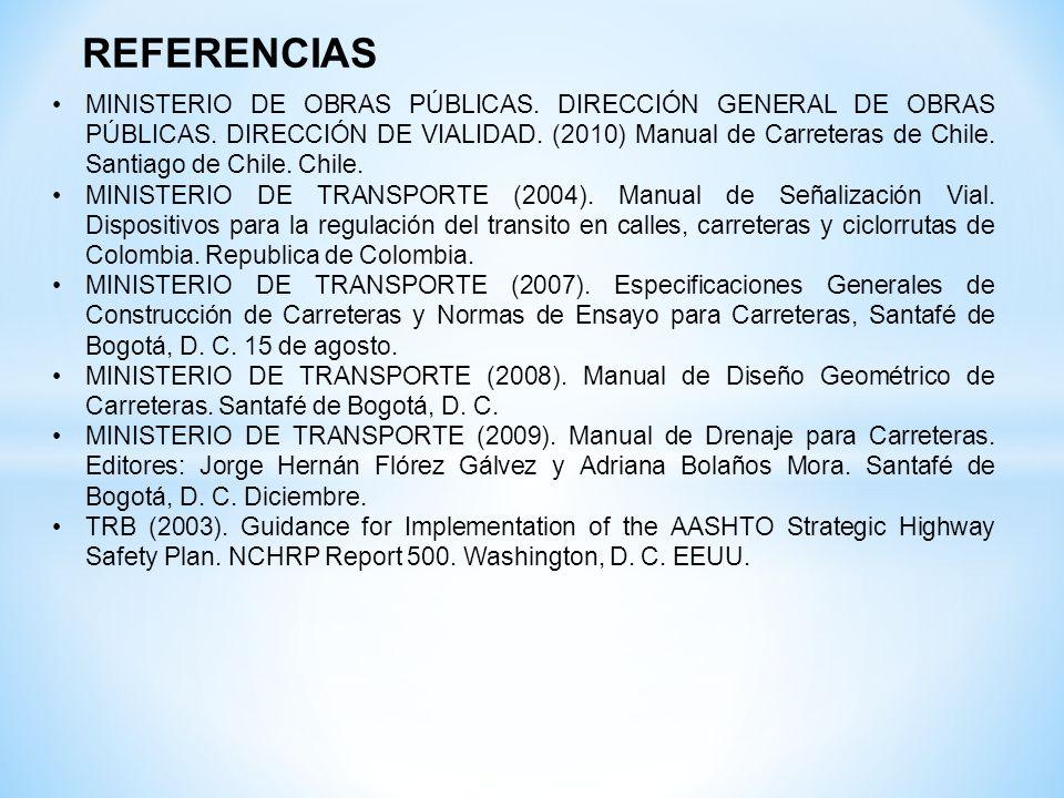 REFERENCIAS MINISTERIO DE OBRAS PÚBLICAS. DIRECCIÓN GENERAL DE OBRAS PÚBLICAS. DIRECCIÓN DE VIALIDAD. (2010) Manual de Carreteras de Chile. Santiago d