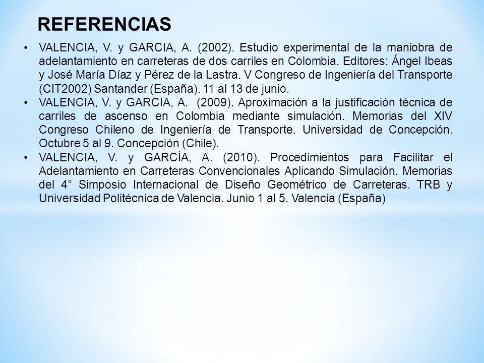 REFERENCIAS VALENCIA, V. y GARCIA, A. (2002). Estudio experimental de la maniobra de adelantamiento en carreteras de dos carriles en Colombia. Editore