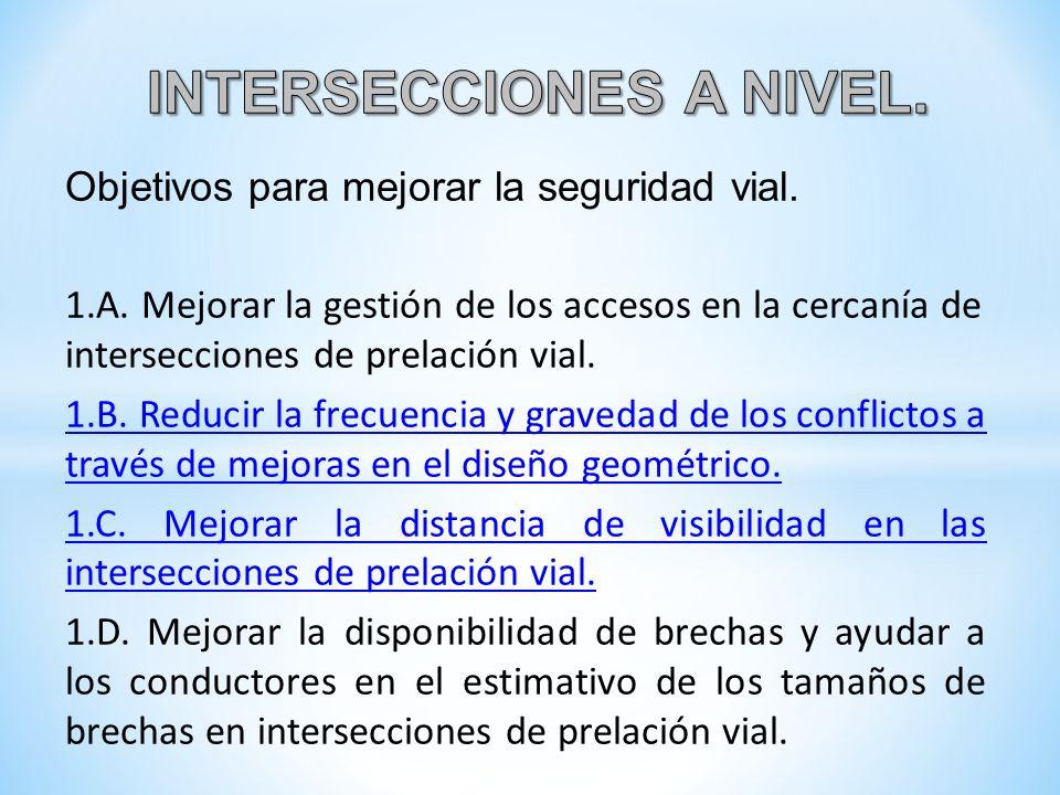 Objetivos para mejorar la seguridad vial. 1.A. Mejorar la gestión de los accesos en la cercanía de intersecciones de prelación vial. 1.B. Reducir la f