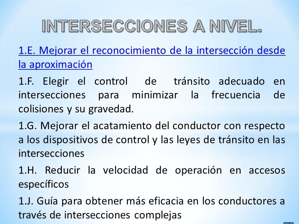 1.E. Mejorar el reconocimiento de la intersección desde la aproximación 1.F. Elegir el control de tránsito adecuado en intersecciones para minimizar l
