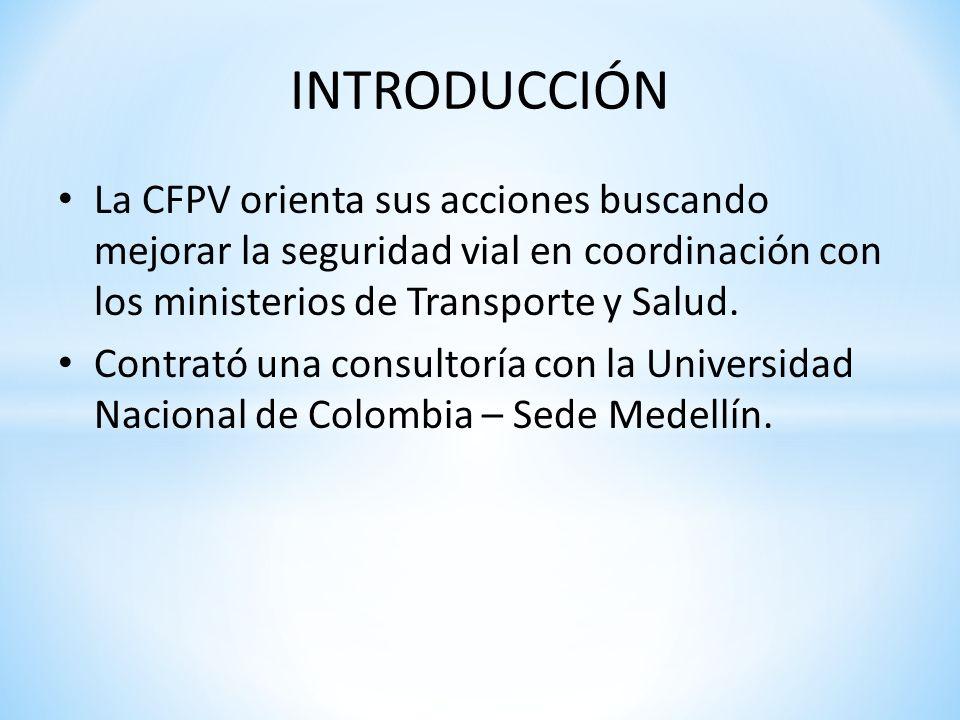 INTRODUCCIÓN La CFPV orienta sus acciones buscando mejorar la seguridad vial en coordinación con los ministerios de Transporte y Salud. Contrató una c