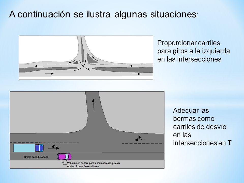 Proporcionar carriles para giros a la izquierda en las intersecciones A continuación se ilustra algunas situaciones : Adecuar las bermas como carriles