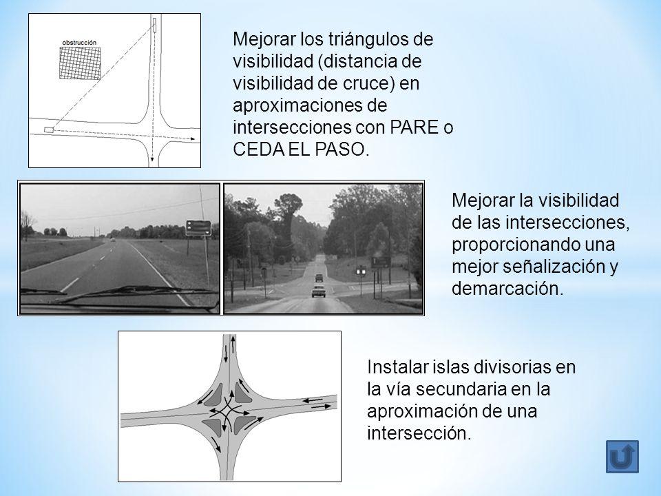 Mejorar los triángulos de visibilidad (distancia de visibilidad de cruce) en aproximaciones de intersecciones con PARE o CEDA EL PASO. Mejorar la visi